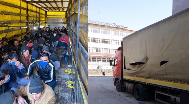 Tırdan 210 düzensiz göçmen çıktı