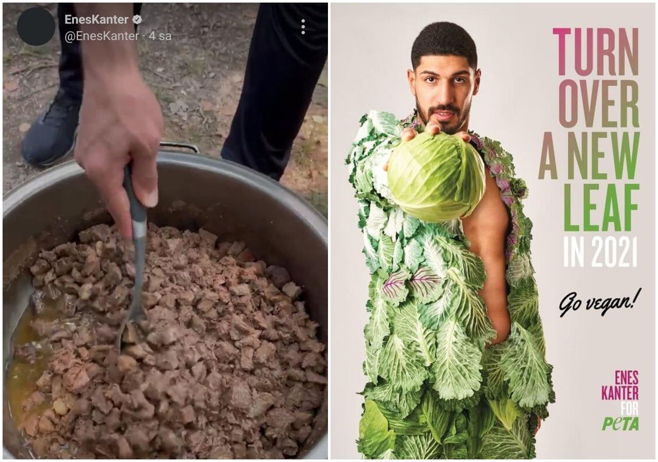 Vegan dergisine röportaj veren FETÖ'cü Enes Kanter, kavurma pişirdi