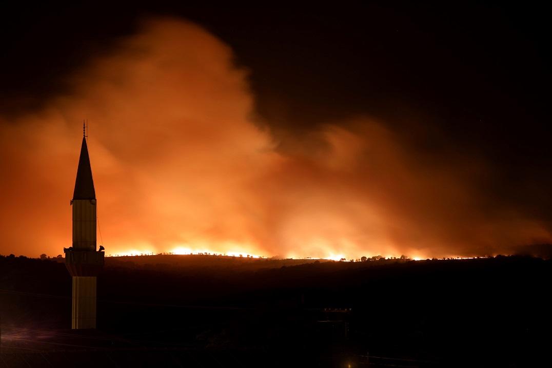 Bulgaristan'daki orman yangını
