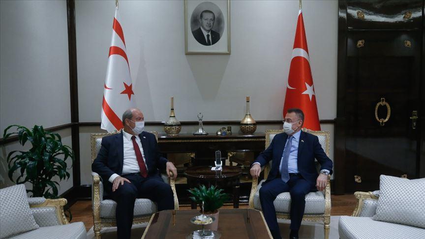 KKTC Başbakanı Tatar, Cumhurbaşkanı Yardımcısı Oktay'la ortak basın toplantısında konuştu