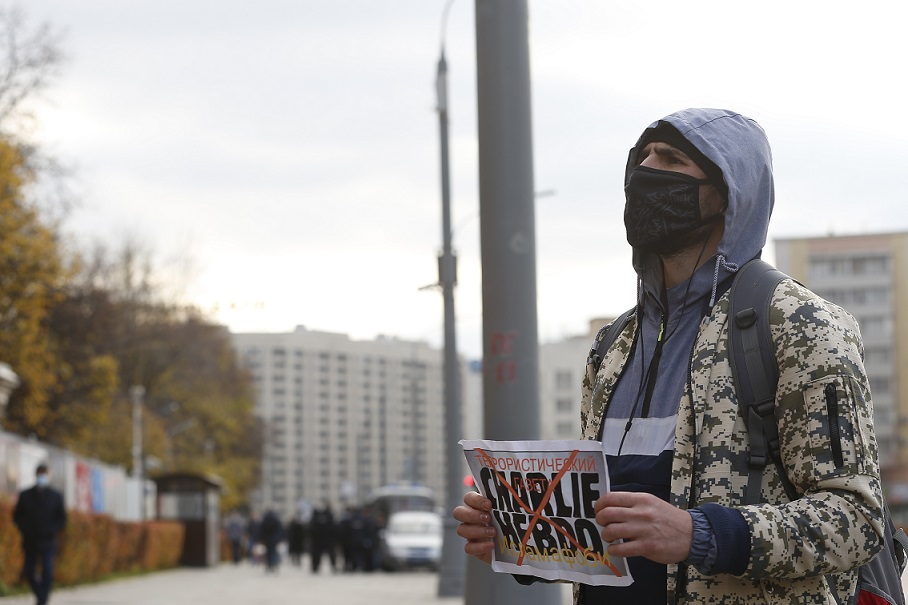 Rusya'da Müslümanlar Fransa Cumhurbaşkanı Emmanuel Macron'u protesto etti