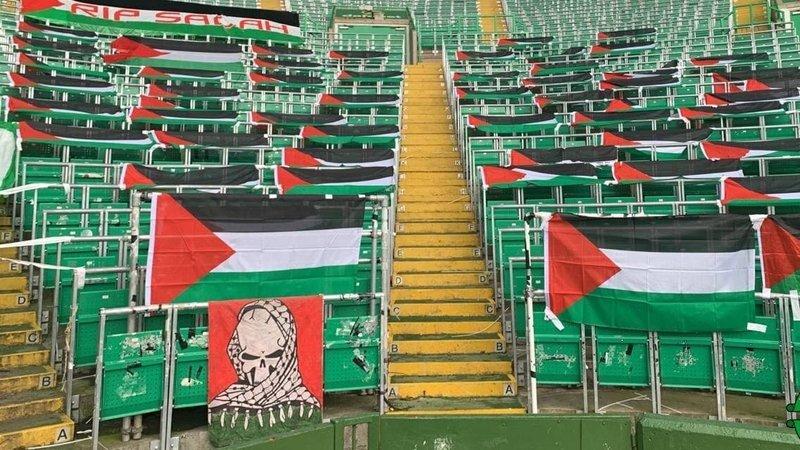 Celtic taraftarları, tribündeki Filistin bayraklarını kaldıran yönetime tepki gösterdi