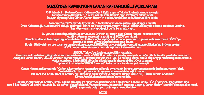 Sözcü'den Kaftancıoğlu'na çok sert Atatürk yanıtı